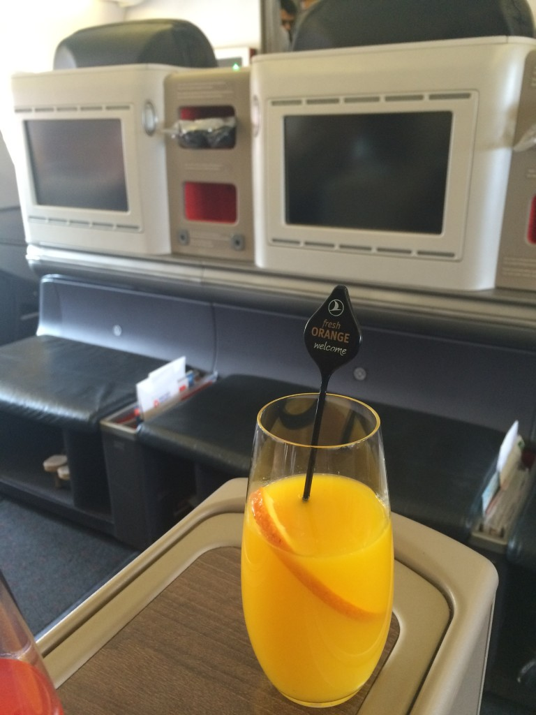 Fresh orange juice served as I settled into my seat.