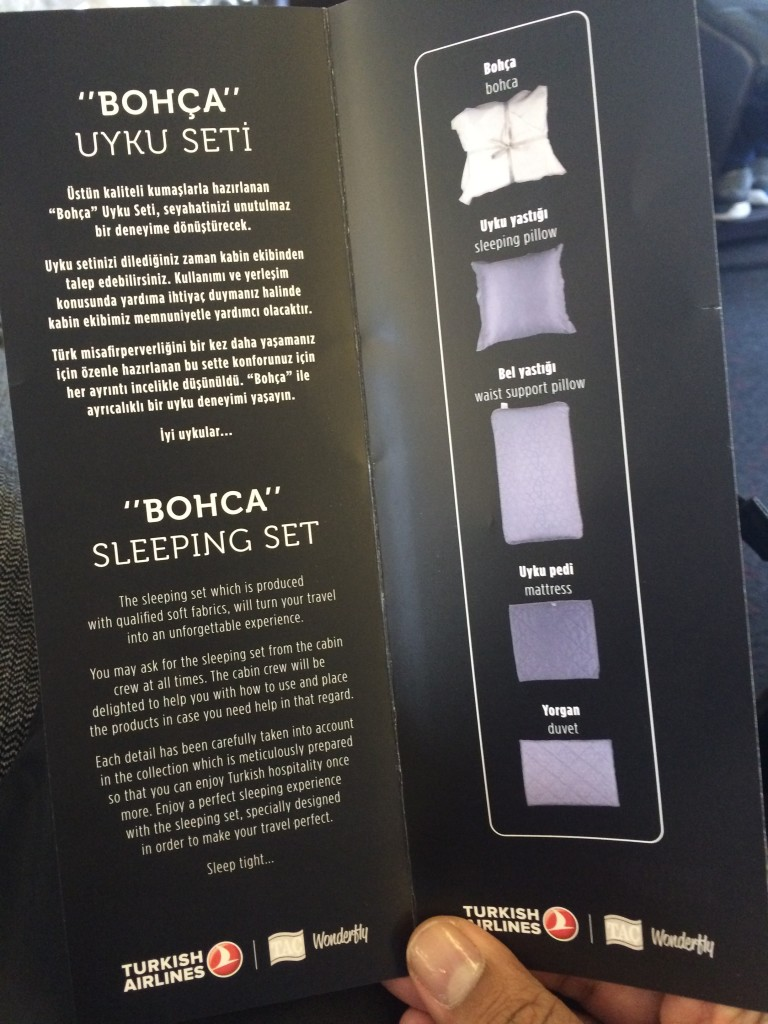 I love the idea of distributing a pamphlet, showcasing the turndown service in a premium cabin on a flight. Turkish's turndown kit seems pretty impressive. I can't wait to try it out.