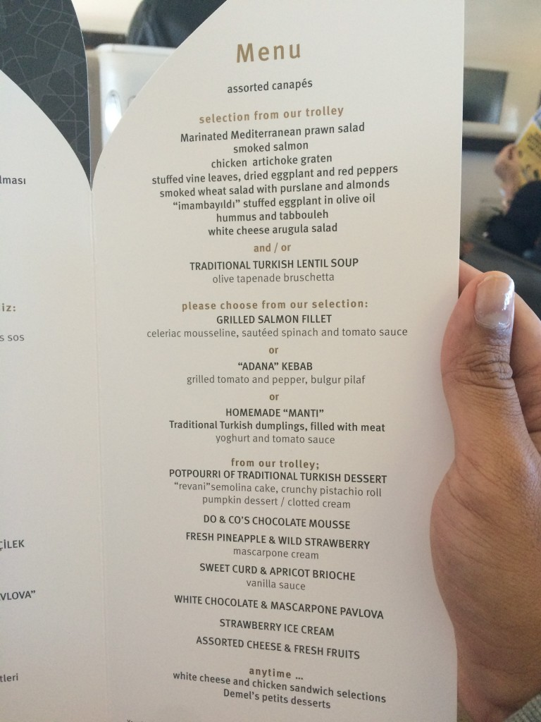 A look at the lunch menu on board today's flight.