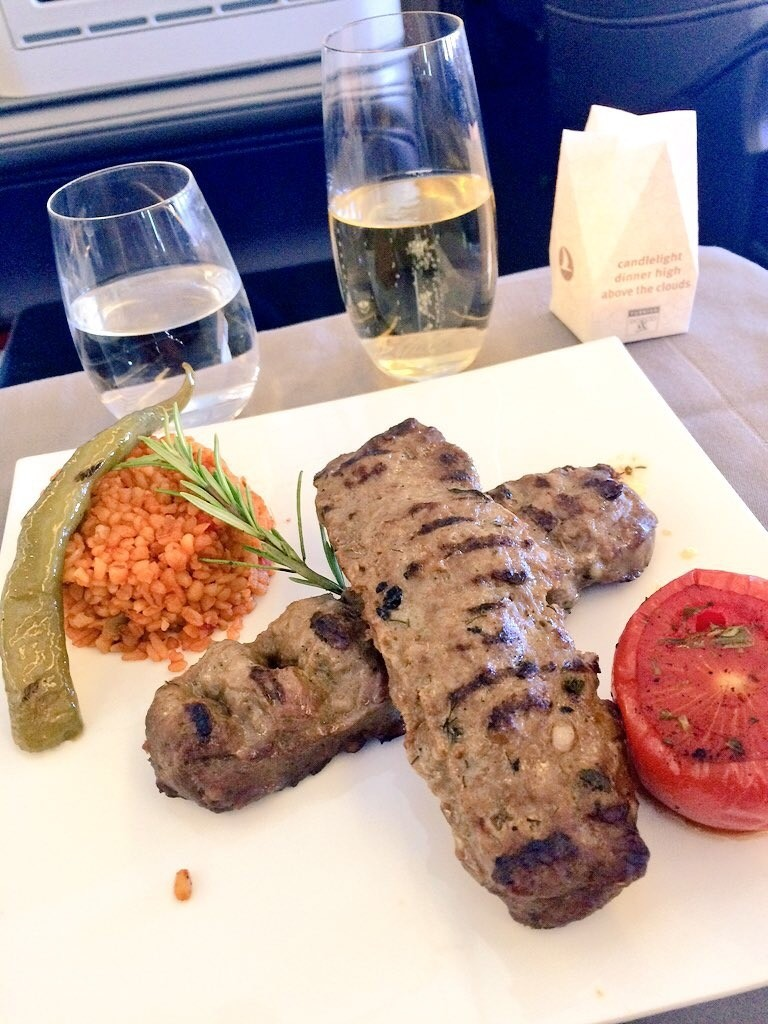My main course arrived in the form of Turkish meat kebabs, served with pilaf.