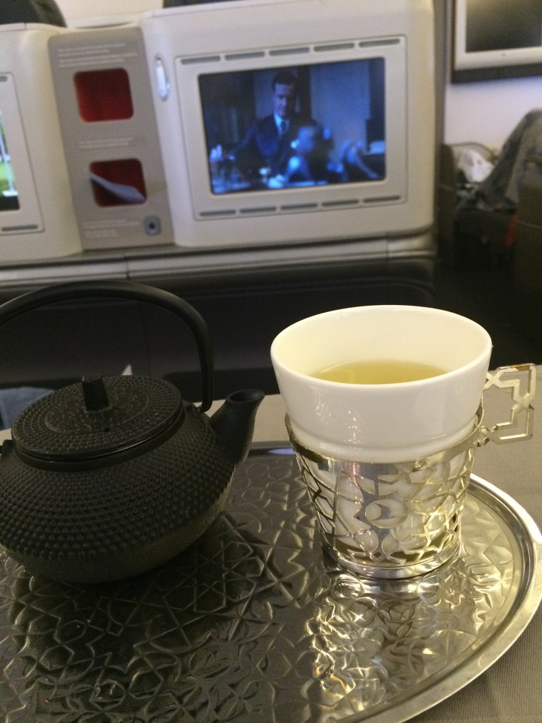 After dessert, I settled down, with a cup of green tea. I absolutely love how Turkish Airlines serves their tea and coffee. This silver plate and the silver lattice cup holder are exquisite.