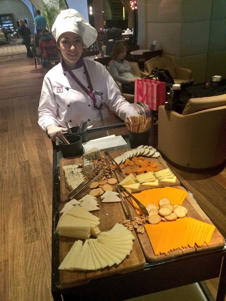 This lady walked around the lounge with her delightful cheese trolley.