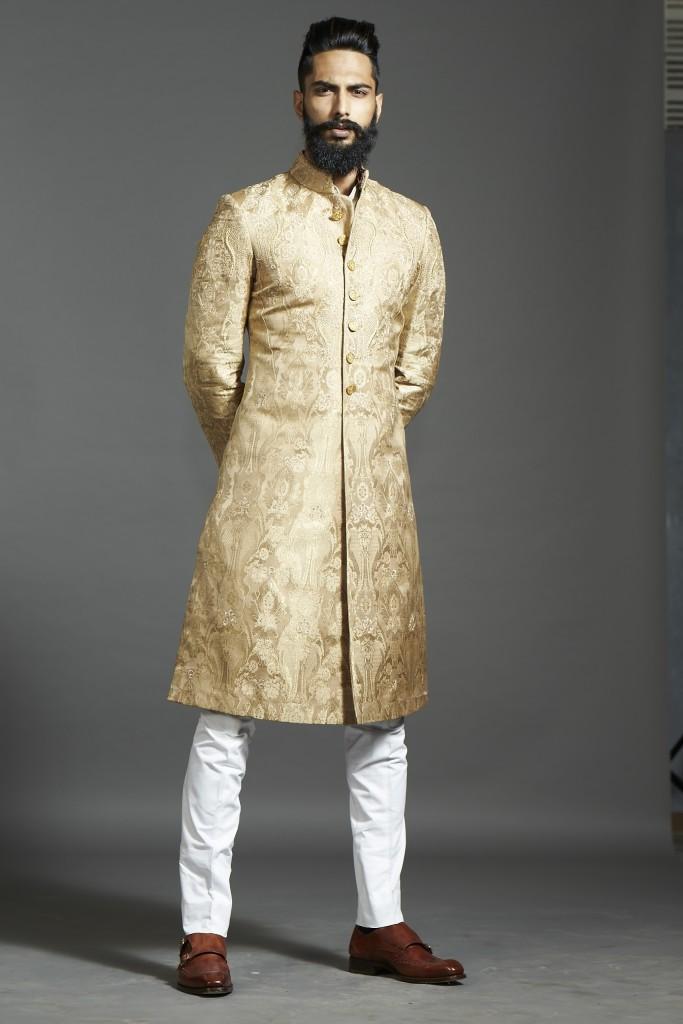 Raghavendra Rathore Achkan in antique Gold Brocade with breeches